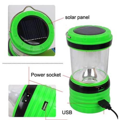 Ηλιακό φωτιστικό Φανάρι φορητό με USB και με μπαταρίες και 220V