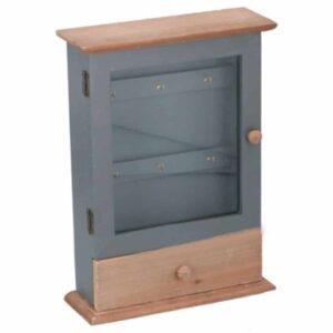 Ξύλινη Κλειδοθήκη 6 θέσεων σε Αντικέ χρώμα με συρταράκι αποθήκευσης