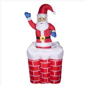 Διακοσμητικός popup Άγιος Βασίλης σε Καμινάδα Φουσκωτός με LED 180cm