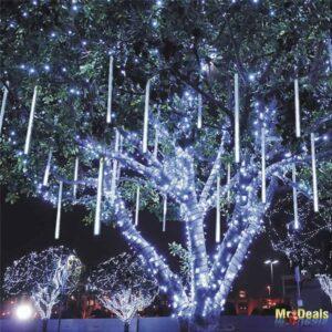 Χριστουγεννιάτικη Αδιάβροχη Κουρτίνα βροχή 5 μέτρων με 8 σωλήνες LED με ψυχρό λευκό φωτισμό
