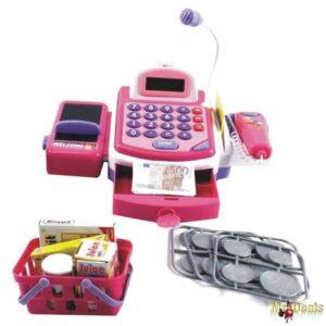 Παιδικό Παιχνίδι Ταμειακή Μηχανή που περιλαμβάνει ψώνια καλάθι ιμάντα και Barcode reader