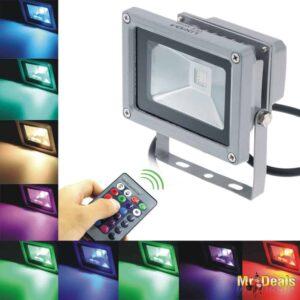 Αδιάβροχος Προβολέας RGB LED 10W Αλογόνου με 6 Λειτουργίες και Τηλεχειριστήριο