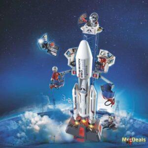 Διαστημικός Πύραυλος με Βάση Εκτόξευσης φωτα ήχους κεντρο ελέγχου και ρομπότ Playmobil