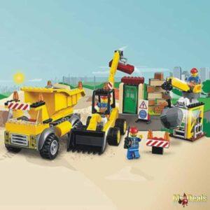 Εργοτάξιο οικοδομής χώρος κατεδάφισης με ανατρεπόμενο φορτηγό οικοδομικά υλικά και 3 φιγούρες