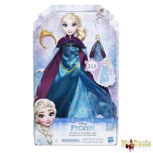Κούκλα Frozen Έλσα με διπλό φόρεμα τιάρα κάπα και ζευγάρι παπούτσια