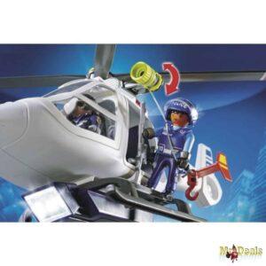Παιχνίδι Playmobil Ελικόπτερο Αστυνομίας Με Προβολέα LED και σχοινί κατάβασης για απίθανη δράση