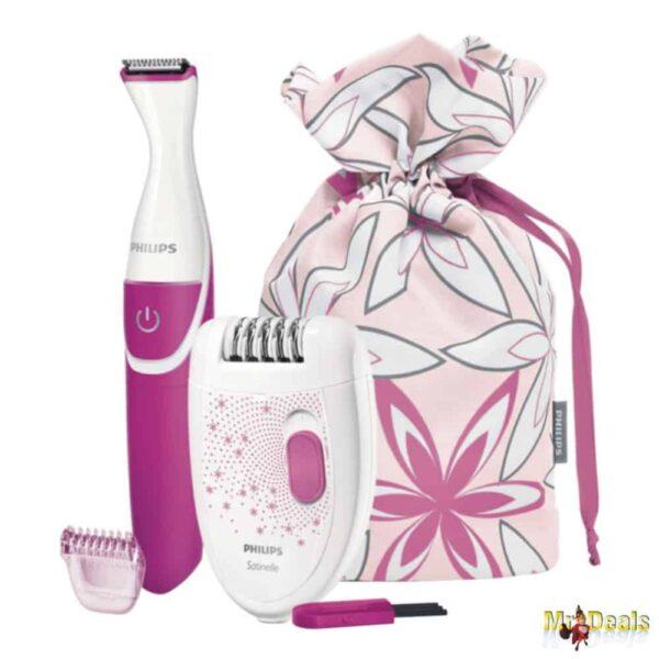 Ηλεκτρική Αποτριχωτική Συσκευή και Συσκευή για το Μπικίνι με τσάντα αποθήκευσης σε Λευκό Ροζ χρώμα Philips