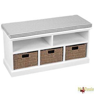 Παγκάκι Κάθισμα με Ριγέ Μαξιλάρι και 5 χώρους αποθήκευσης 90x34x46.5cm σε Λευκό χρώμα