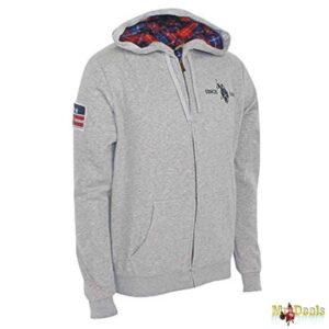 Ανδρική Φούτερ Ζακέτα Μακρυμάνικη Sweat με Φερμουάρ και Καρό Κουκούλα σε Γκρι χρώμα U.S. Polo Assn