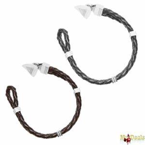 Αντρικό Κόσμημα Βραχιόλι 19cm από Ανοξείδωτο Ατσάλι και Μαύρο ή Καφέ Δέρμα