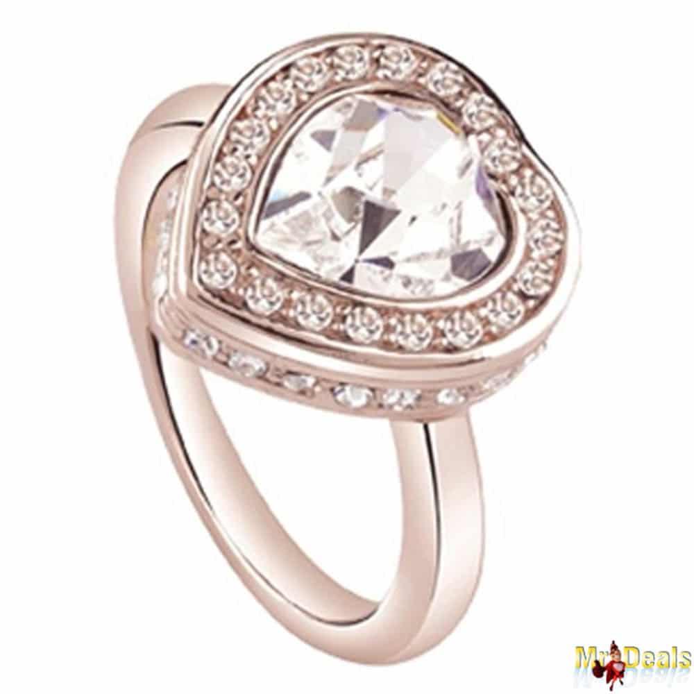 Γυναικείο Κόσμημα Δαχτυλίδι σε σχήμα καρδιάς από Ανοξείδωτο Ατσάλι σε Ροζ  Χρυσό χρώμα με Κρυσταλλάκια 83390a58b4b