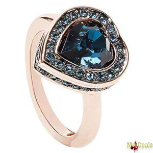 Γυναικείο Κόσμημα Δαχτυλίδι σε σχήμα καρδιάς σε Ροζ Χρυσό χρώμα με Μπλε Κρύσταλλο