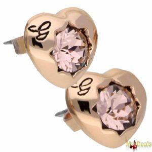 Γυναικείο Κόσμημα Σκουλαρίκια σε σχήμα Καρδιάς σε Ροζ Χρυσό χρώμα με Ροζ Κρύσταλλο