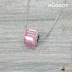 Κολιέ μήκους 45cm με επίστρωση Ροδίου και Κρύσταλλα Swarovski Pink Wheel Huggot