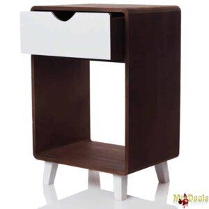Ξύλινο Έπιπλο τραπεζάκι Μοντέρνου στυλ με Στρογγυλεμένες γωνίες με 1 Συρτάρι σε Καφέ χρώμα