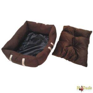 Μαλακό κρεβάτι σκύλου και άλλων κατοικιδίων LUX με αφαιρούμενο Μαξιλαράκι σε Καφέ χρώμα μεγάλο μέγεθος
