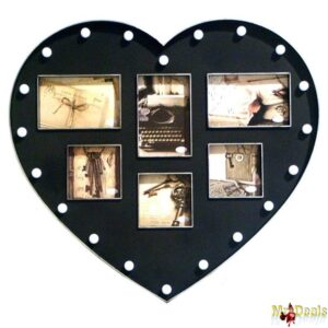 Πλαστική Κορνίζα 49x54x3cm Μοντέρνα Σύνθεση σε Σχήμα Καρδιάς με LED για 6 Φωτογραφίες