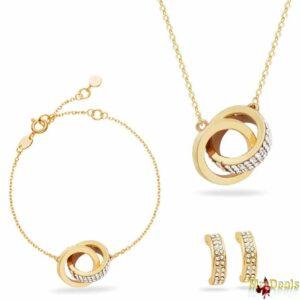 Σετ συλλογή Κοσμημάτων από κράμα χρυσού, ρόδιο με 1 Κολιέ 1 Βραχιόλι και 1 Ζευγάρι Σκουλαρίκια