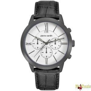 Αναλογικό Ανδρικό Ρολόι χειρός με Λευκό καντράν Μαύρη Κάσα Μαύρο δερμάτινο λουράκι
