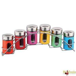 Σετ βάζα για μπαχαρικά 6 τεμ σε 6 χρώματα από ανοξείδωτο χάλυβα σε συσκευασία δώρου