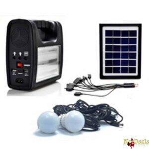 Ηλιακό σύστημα φωτισμού & φόρτισης με panel, μπαταρία, φακό και 2 λάμπες led 90 lumens