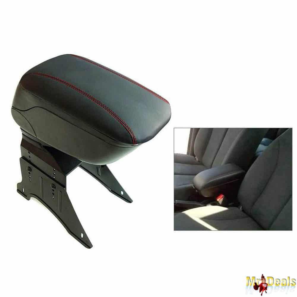 Κονσόλα χειρόφρενου universal τεμπέλης αυτοκινήτου σε μαύρο χρώμα με κόκκινες ραφές για όλα τα αυτοκίνητα