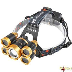 Πενταπλός επαναφορτιζόμενος προβολέας κεφαλής LED με 4 τρόπους λειτουργίας και μεγάλη διάρκεια