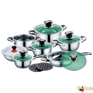 Σετ Μαγειρικά Σκεύη 16τμχ από Ανοξείδωτο Ατσάλι με πράσινα γυάλινα καπάκια και ένδειξη θερμοκρασίας
