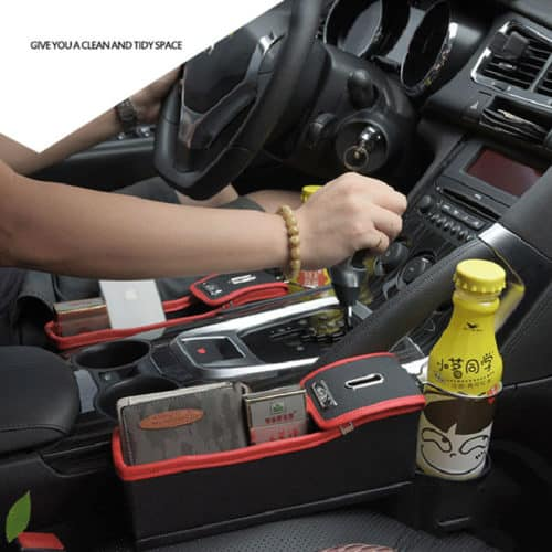 Θήκη οργάνωσης αυτοκινήτου με ποτηροθήκη & κουμπαρά για το κάθισμα του οδηγού ή του συνοδηγού