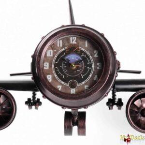 Χειροποίητο διακοσμητικό ρολόι αεροπλάνο διάστασης 50x15x20cm μεταλλικό με vintage επιρροές