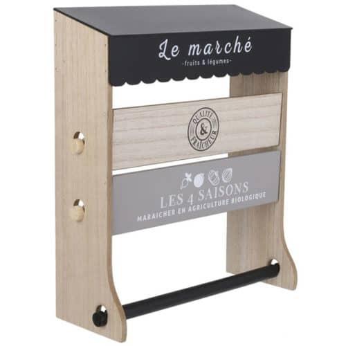 Ξύλινη Επιτοίχια Τριπλή Βάση για Ρολό Κουζίνας διαστάσεων 33x13.3x40.2cm Aria Trade