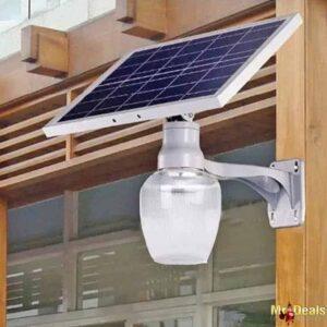Φωτιστικό LED με ηλιακό πάνελ εξωτερικού χώρου 12V 10W 6500K λευκό ψυχρό με τηλεχειριστήριο