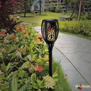 Ηλιακό φωτιστικό με 96 LED με εφέ φλόγας εξωτερικού χώρου τύπου δάδας ύψους 78cm