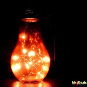 Κρεμαστός LED λαμπτήρας ύψους 22cm μπαταρίας με καλώδιο χαλκού και θερμό φωτισμό σε τέσσερα χρώματα
