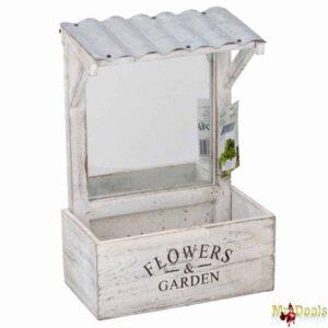 Ξύλινο Vintage Σταντ Κήπου Γλάστρα για Φύτεμα διάστασης 21x12x29cm με διακοσμητικό καθρεπτη