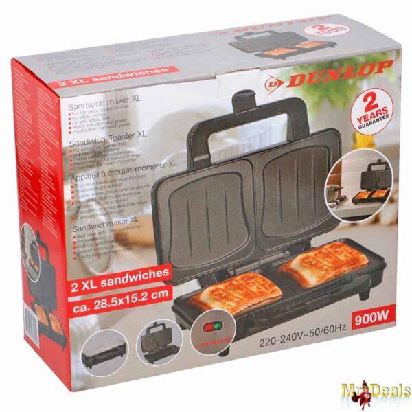 Τοστιέρα Σαντουιτσιέρα 900W Toast-Sandwich maker XL με Αντικολλητικές πλάκες σε Μαύρο Ασημί χρώμα