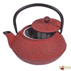 Τσαγιέρα από Μαντέμι με Φίλτρο σε Κόκκινο Χρώμα με Μαύρο Χερούλι 600ml