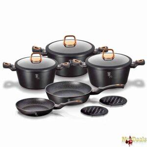 Σετ Μαγειρικά Σκεύη 10 τεμαχίων με Τριπλή Μαρμάρινη Επίστρωση και πάτο Turbo Induction σε Metallic Black Rosegold χρώμα