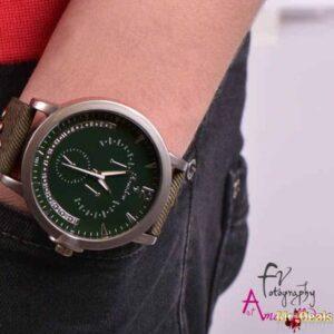 Ανδρικό ρολόι χειρός με κυπαρρισί λουρί και διακοσμητικά τρουκς by Amaryllida's Art collection