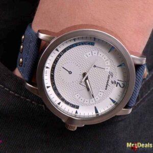 Ανδρικό ρολόι χειρός με μπλε λουρί και λευκό καντράν by Amaryllida's Art collection