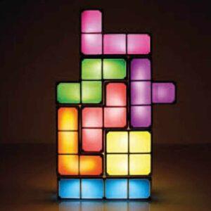 Επαναφορτιζόμενο φωτιστικό Tetris LED με USB, πολύχρωμες λυχνίες LED με πλαίσια χρωμίου