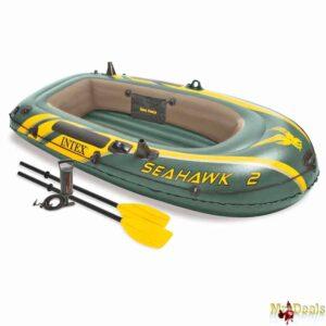 Φουσκωτή Βάρκα 2 ατόμων με Κουπιά και Τρόμπα σε Χακί Πράσινο Χρώμα με Κίτρινες Λεπτομέρειες