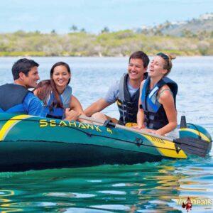 Φουσκωτή Βάρκα 4 ατόμων με Κουπιά και Τρόμπα σε Χακί Πράσινο Χρώμα με Κίτρινες Λεπτομέρειες