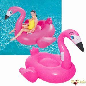 Γίγας Φουσκωτό Φλαμίνγκο Στρώμα Θαλάσσης Flamingo διάστασης 175x173cm σε ροζ χρώμα