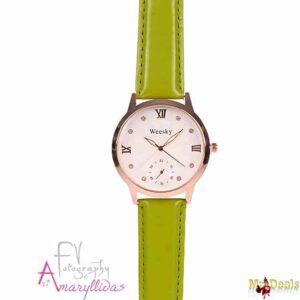 Κλασικό γυναικείο ρολόι χειρός σε πράσινο χρώμα με διακοσμητικούς χρονογράφους by Amaryllida's
