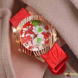Κόκκινο γυναικείο ρολόι χειρός με ανάγλυφο λουράκι σιλικόνης by Amaryllida's art collection