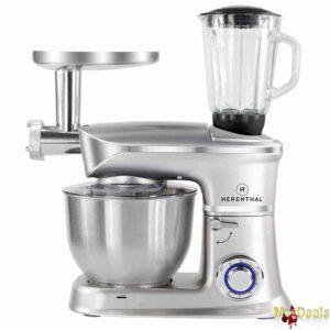 Κουζινομηχανή, Μίξερ, Μπλέντερ, Κρεατομηχανή με κάδο 6,5L με ένδειξη Led με 6 ταχύτητες ασημί