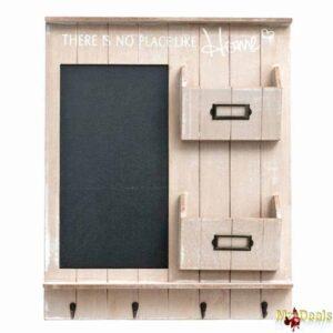 Ξύλινη Κλειδοθήκη Οργανωτής Τοίχου με πίνακα 2 θέσεων με χώρο για Αλληλογραφία και 4 γάντζους