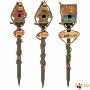 Ξύλινο Σπιτάκι για Πουλιά Εξωτερικού χώρου με Πάσσαλο για τον Κήπο διάστασης 68x9x12cm