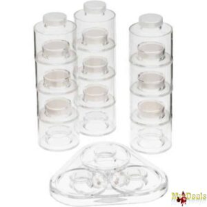 Περιστρεφόμενος πύργος μπαχαρικών με διάφανα βαζάκια για να οργανώσετε τα μπαχαρικά σας